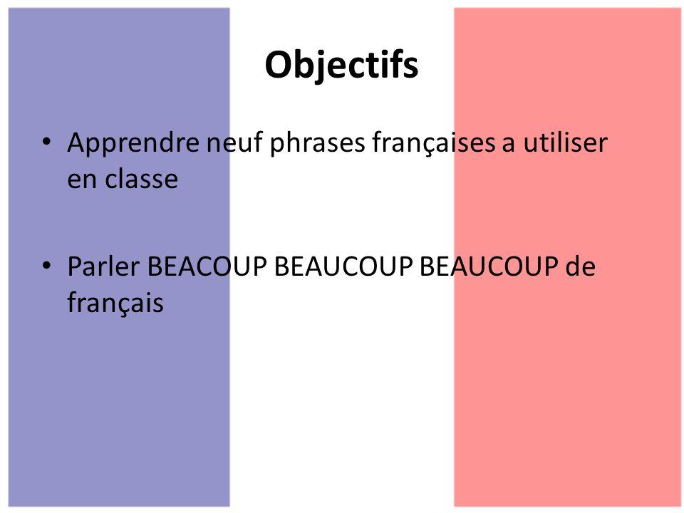 Objectifs Apprendre neuf phrases françaises a utiliser en classe