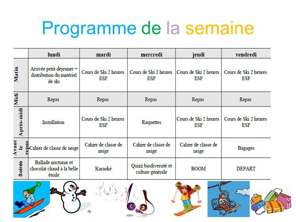 Programme de la semaine