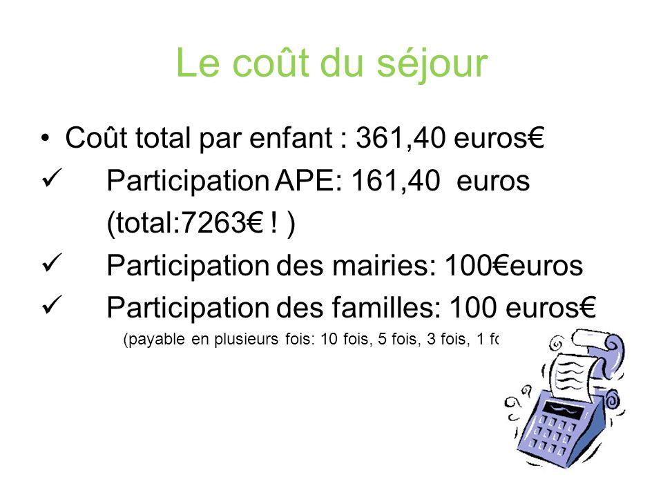Le coût du séjour Coût total par enfant : 361,40 euros€