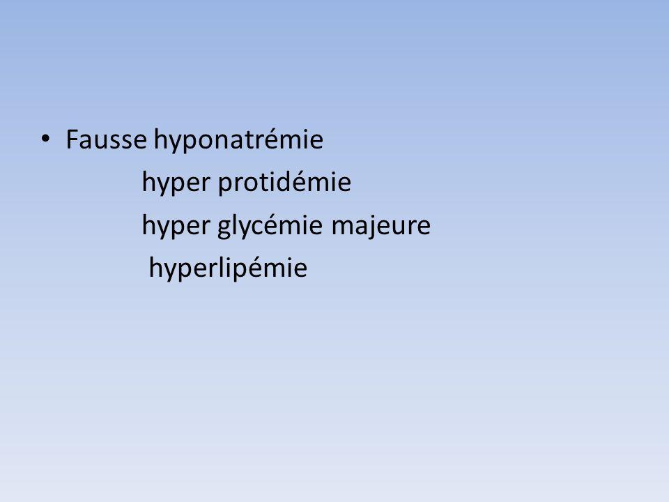 Fausse hyponatrémie hyper protidémie hyper glycémie majeure hyperlipémie