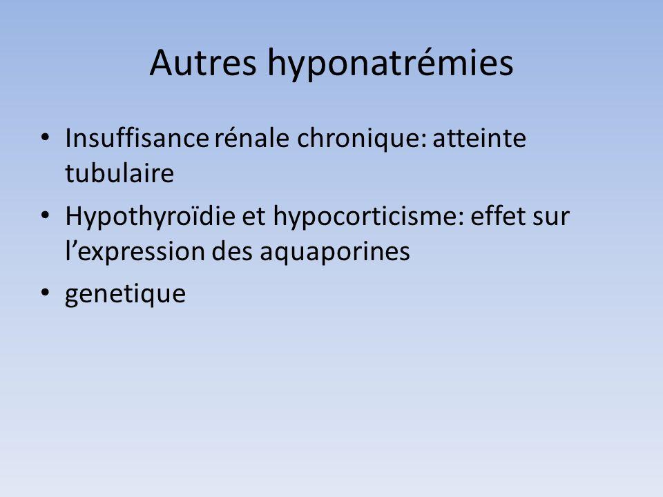 Autres hyponatrémies Insuffisance rénale chronique: atteinte tubulaire