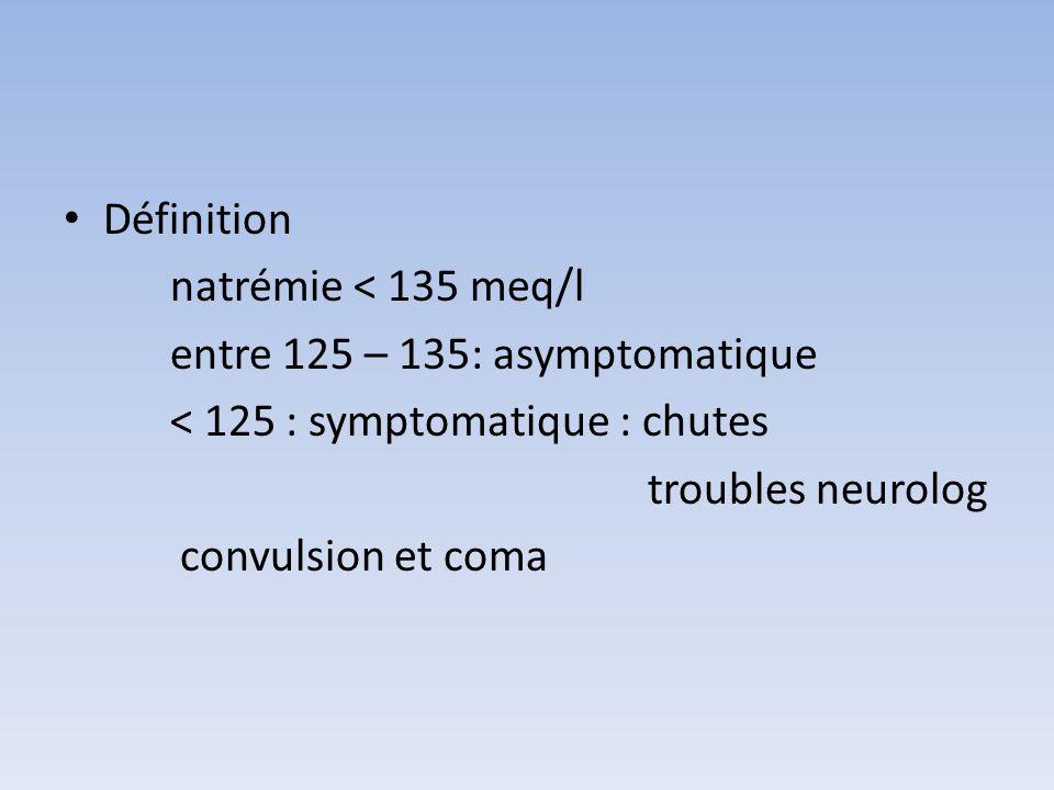 Définition natrémie < 135 meq/l. entre 125 – 135: asymptomatique. < 125 : symptomatique : chutes.