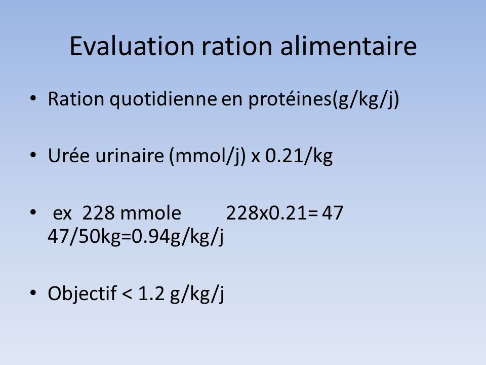 Evaluation ration alimentaire