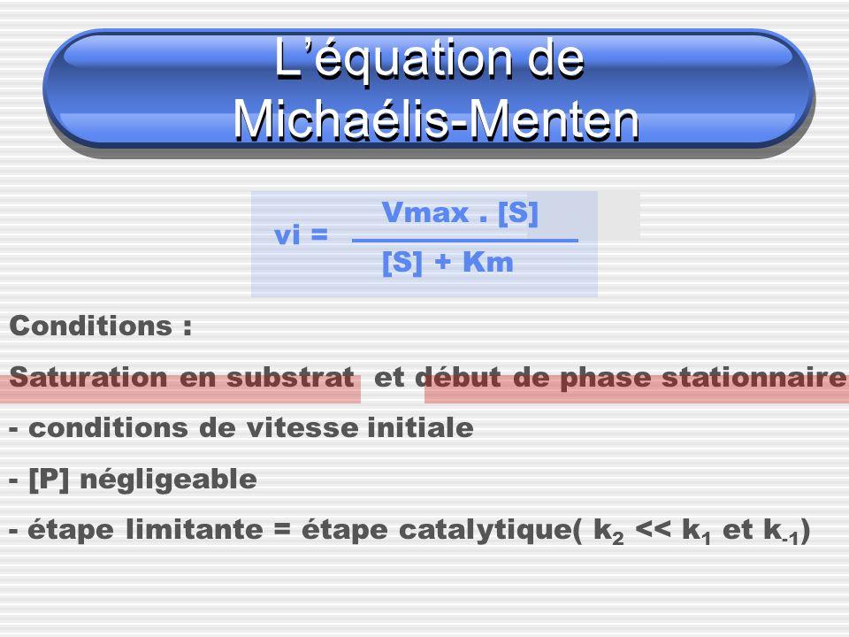 L'équation de Michaélis-Menten