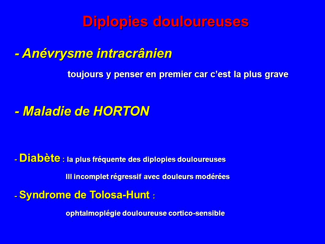 Diplopies douloureuses