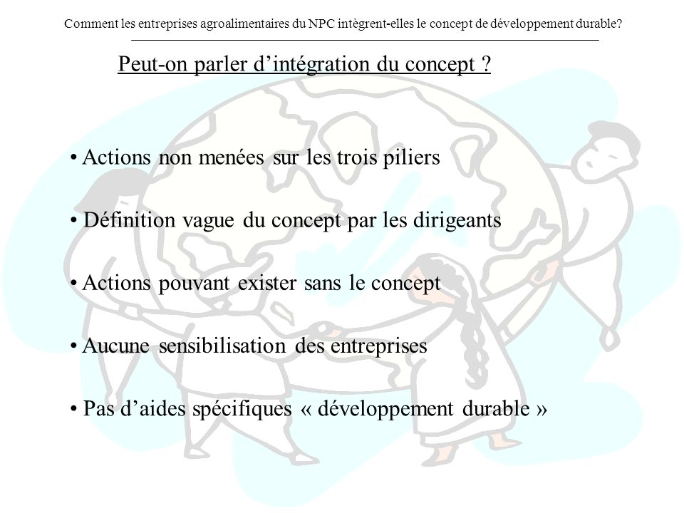 Peut-on parler d'intégration du concept