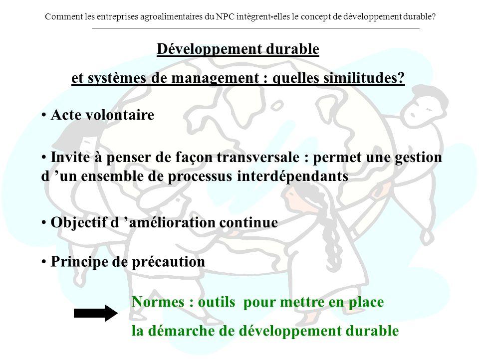 Développement durable et systèmes de management : quelles similitudes