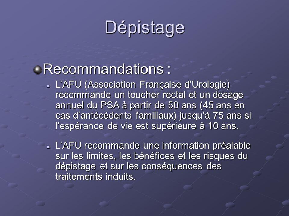 Dépistage Recommandations :
