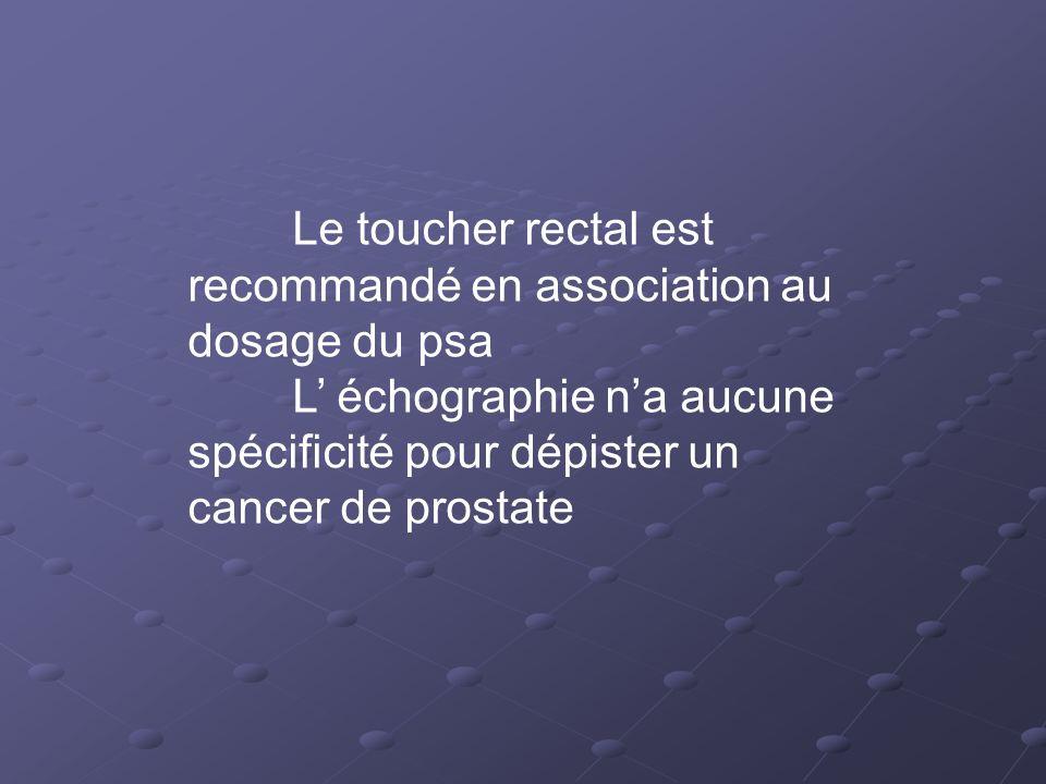 Le toucher rectal est recommandé en association au dosage du psa