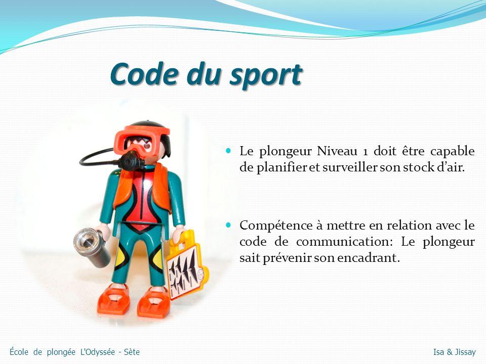 Code du sport Le plongeur Niveau 1 doit être capable de planifier et surveiller son stock d'air.