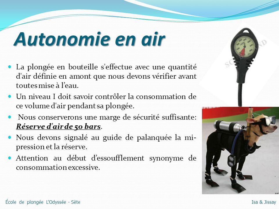 Autonomie en air La plongée en bouteille s effectue avec une quantité d air définie en amont que nous devons vérifier avant toutes mise à l'eau.