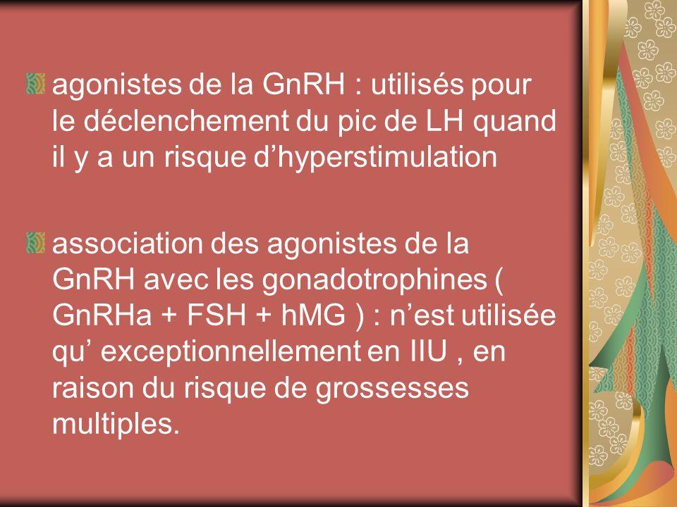 agonistes de la GnRH : utilisés pour le déclenchement du pic de LH quand il y a un risque d'hyperstimulation