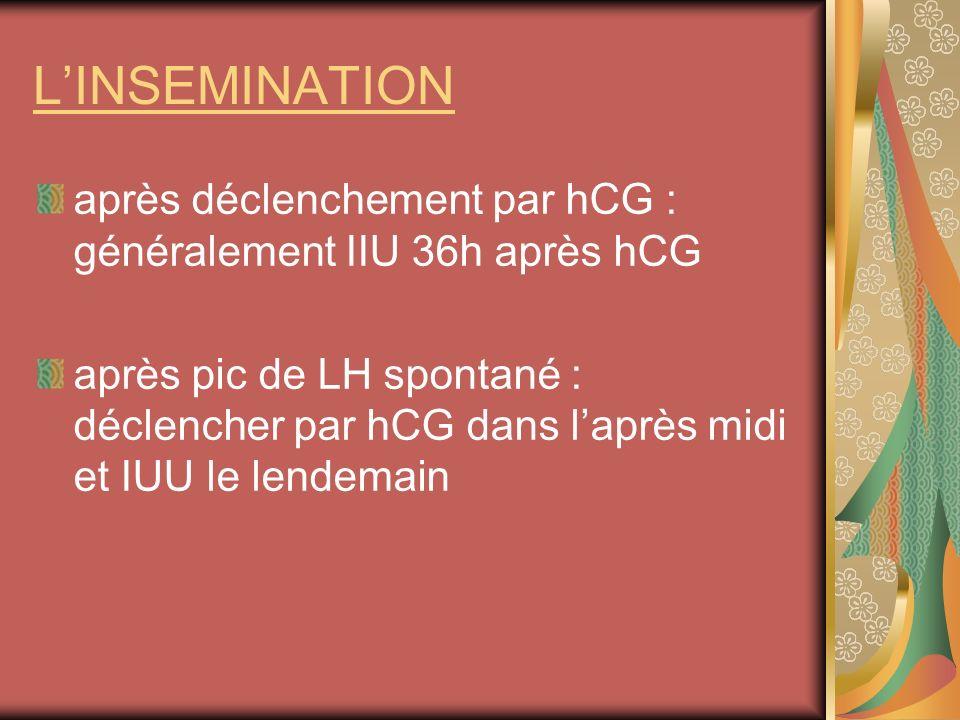 L'INSEMINATION après déclenchement par hCG : généralement IIU 36h après hCG.