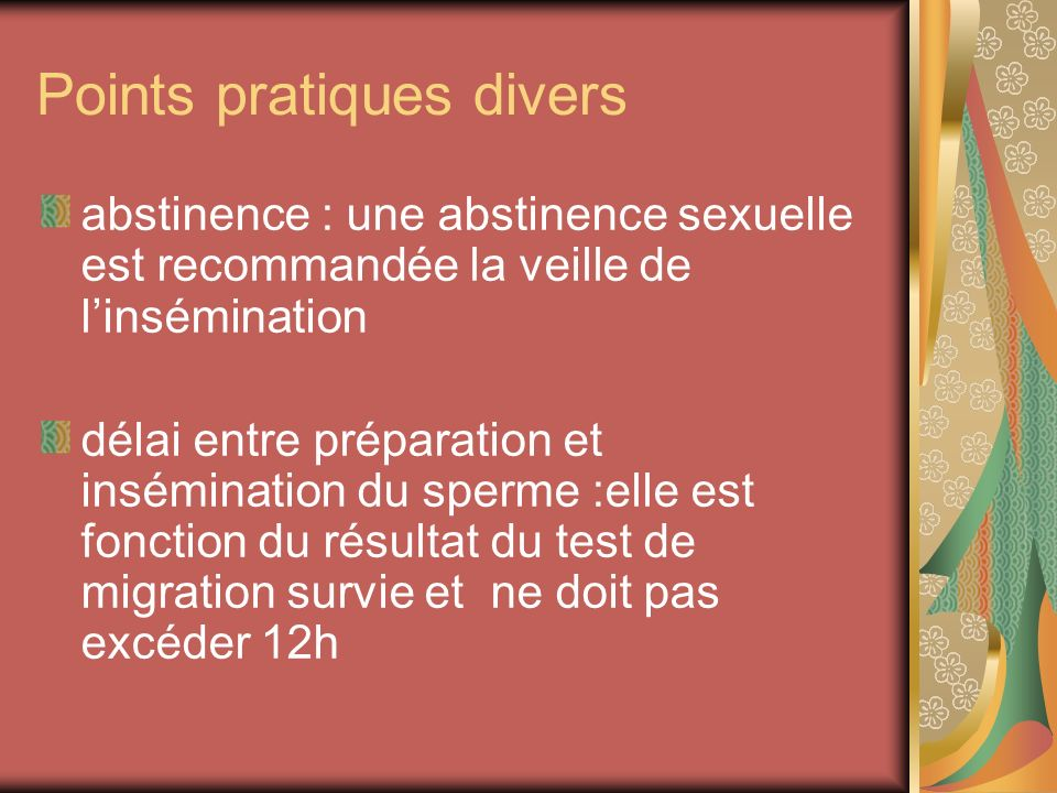 Points pratiques divers