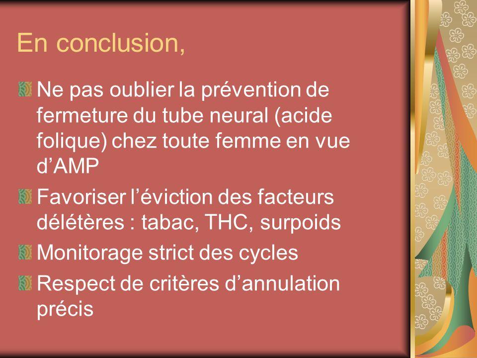 En conclusion, Ne pas oublier la prévention de fermeture du tube neural (acide folique) chez toute femme en vue d'AMP.