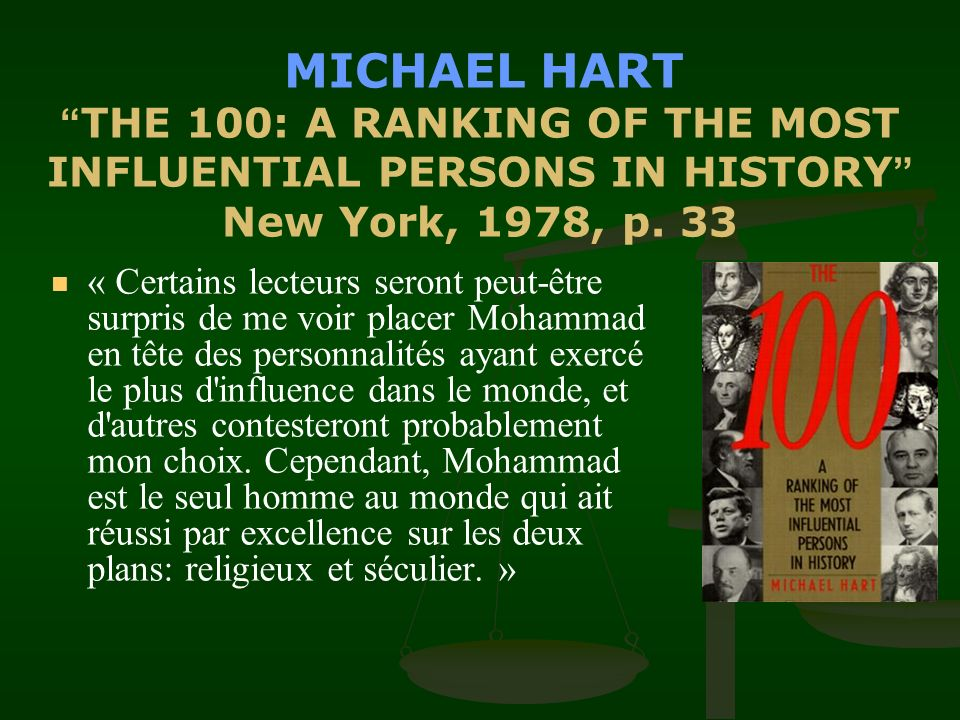 MICHAEL HART THE 100: A RANKING OF THE MOST INFLUENTIAL PERSONS IN HISTORY New York, 1978, p. 33
