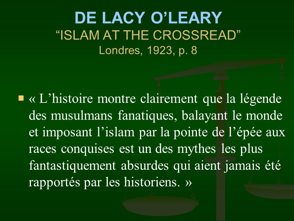 DE LACY O'LEARY ISLAM AT THE CROSSREAD Londres, 1923, p. 8