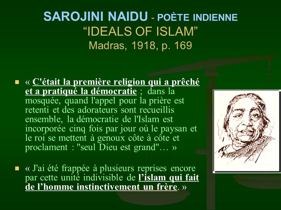 SAROJINI NAIDU - POÈTE INDIENNE IDEALS OF ISLAM Madras, 1918, p. 169