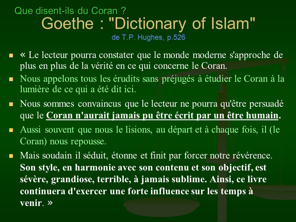 Goethe : Dictionary of Islam de T.P. Hughes, p.526