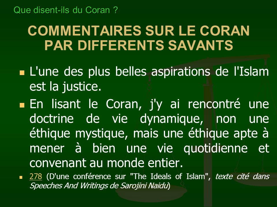 COMMENTAIRES SUR LE CORAN PAR DIFFERENTS SAVANTS