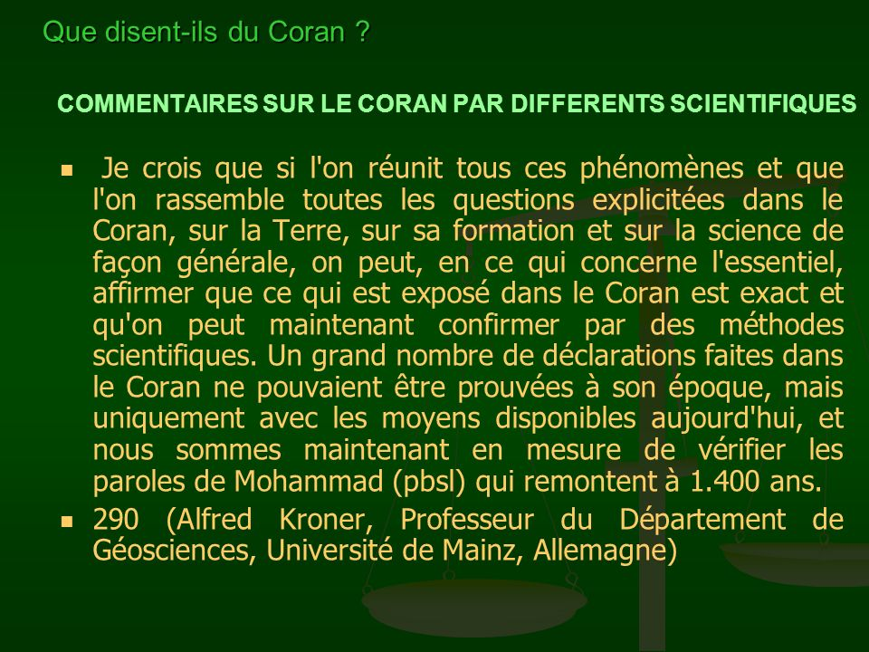 COMMENTAIRES SUR LE CORAN PAR DIFFERENTS SCIENTIFIQUES