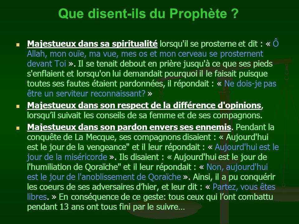 Que disent-ils du Prophète