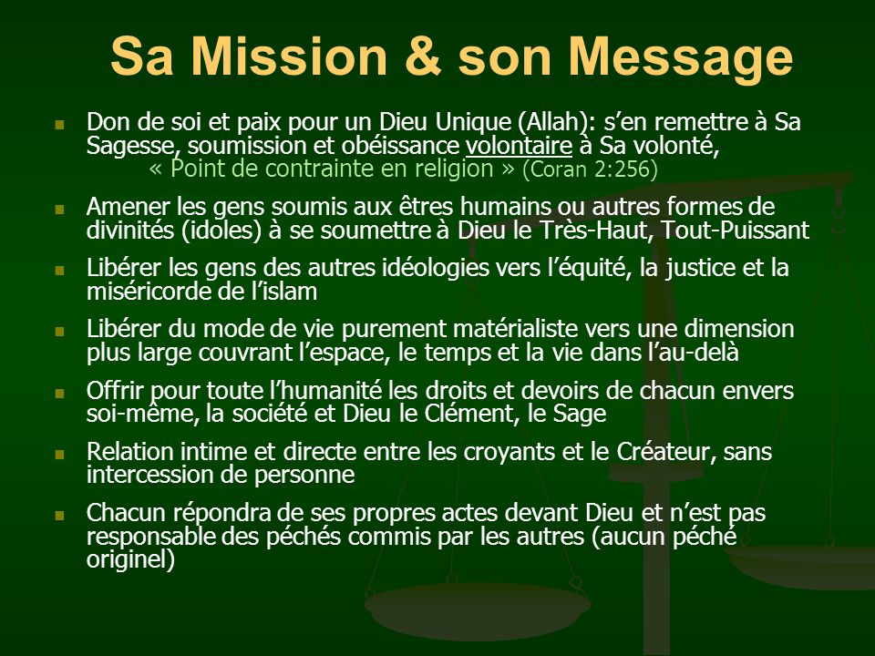 Sa Mission & son Message