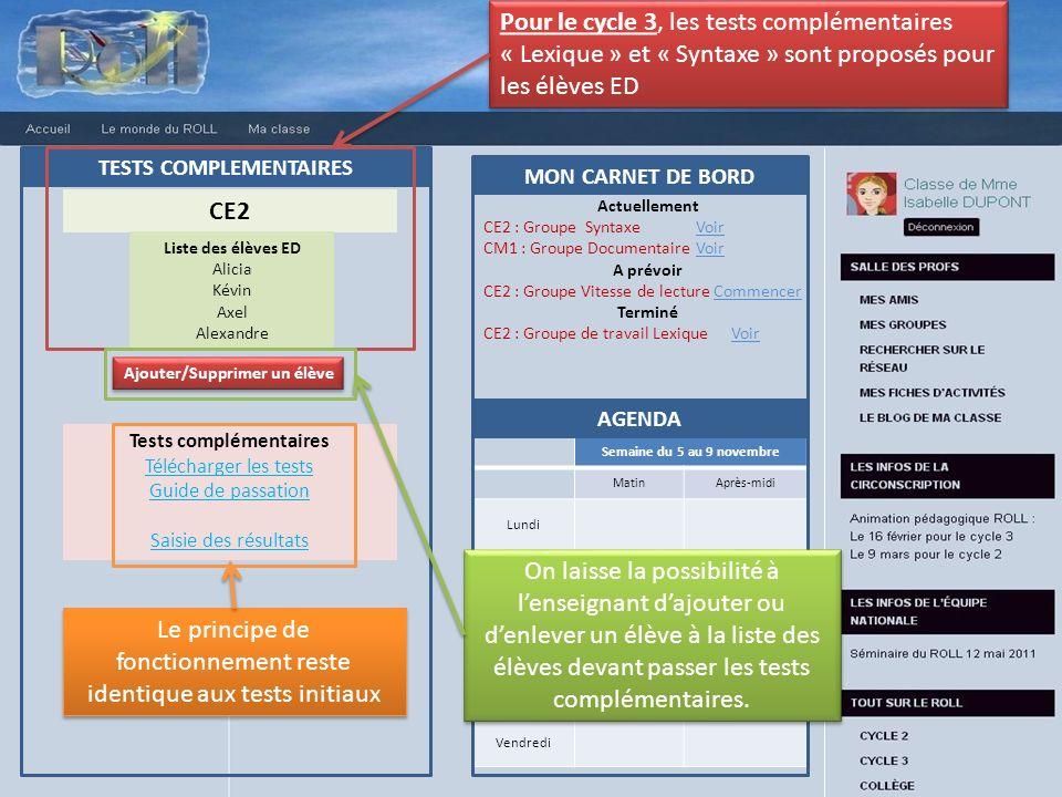 TESTS COMPLEMENTAIRES Ajouter/Supprimer un élève Tests complémentaires