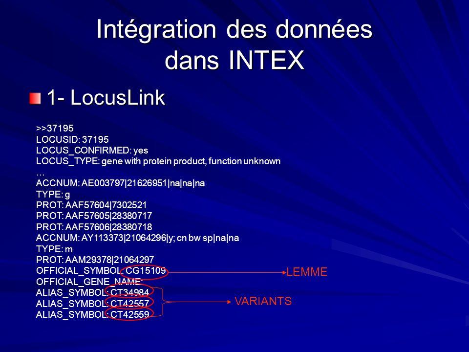 Intégration des données dans INTEX