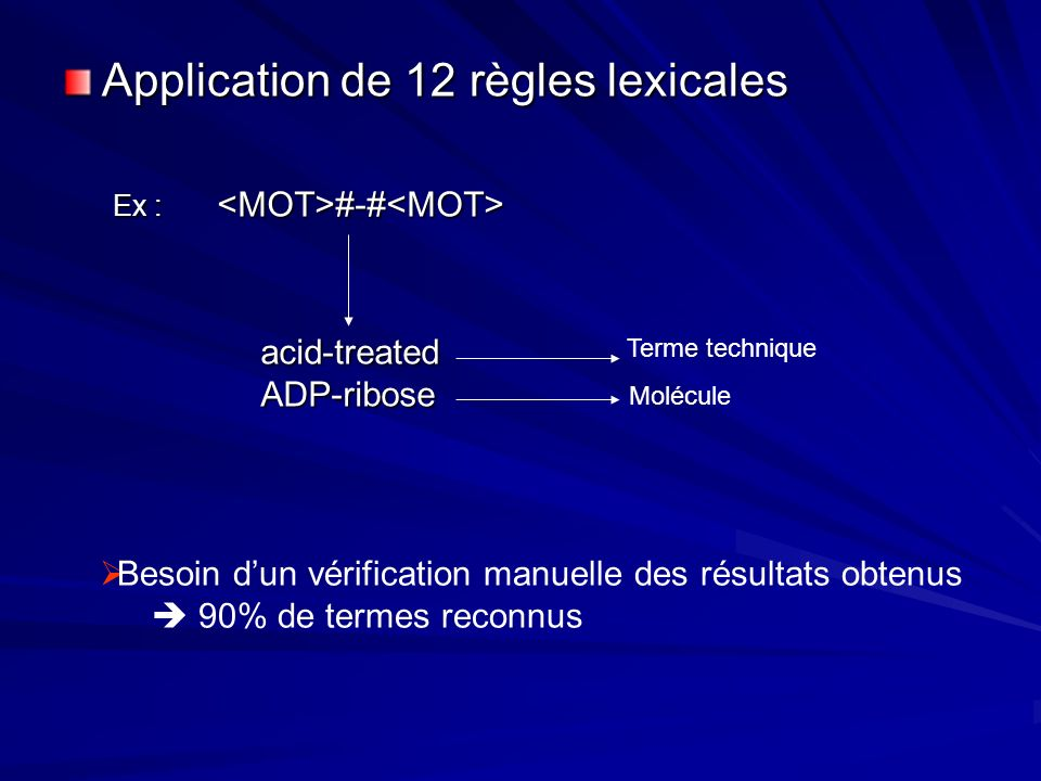 Application de 12 règles lexicales