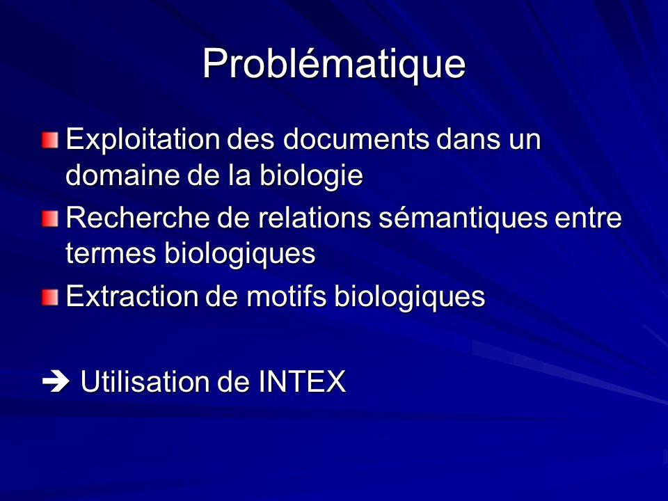Problématique Exploitation des documents dans un domaine de la biologie. Recherche de relations sémantiques entre termes biologiques.