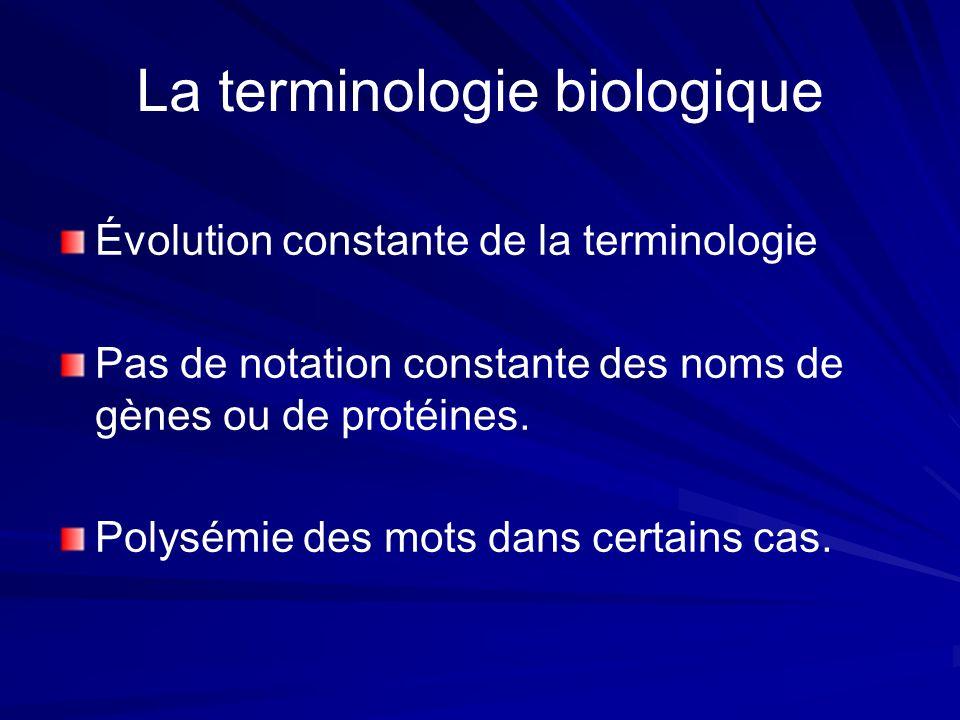 La terminologie biologique