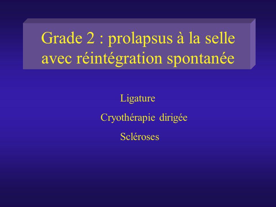 Grade 2 : prolapsus à la selle avec réintégration spontanée