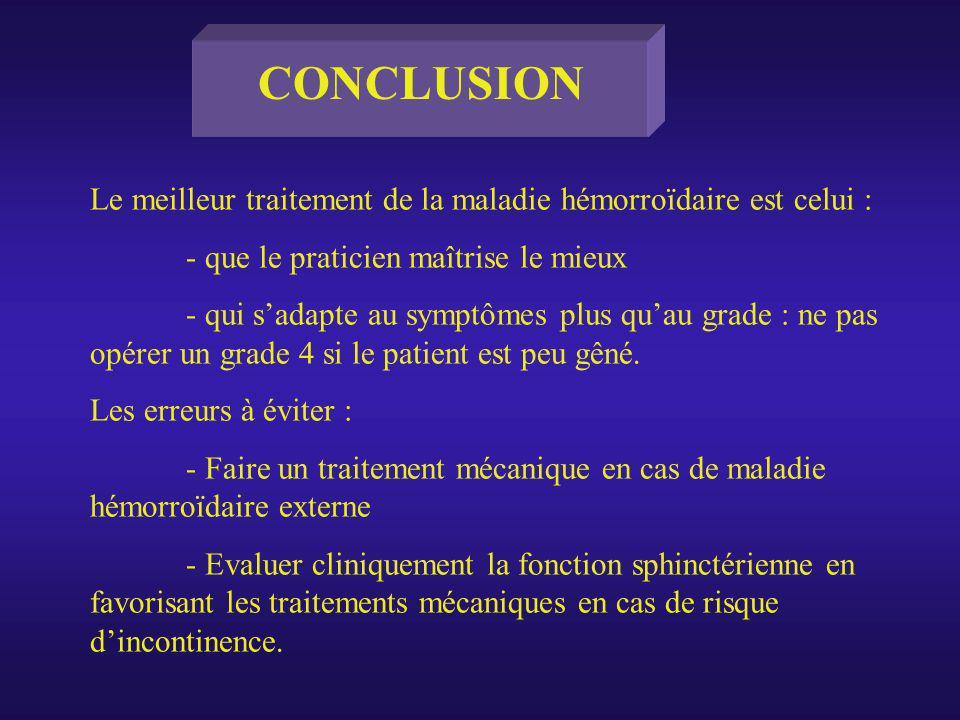 CONCLUSION Le meilleur traitement de la maladie hémorroïdaire est celui : - que le praticien maîtrise le mieux.