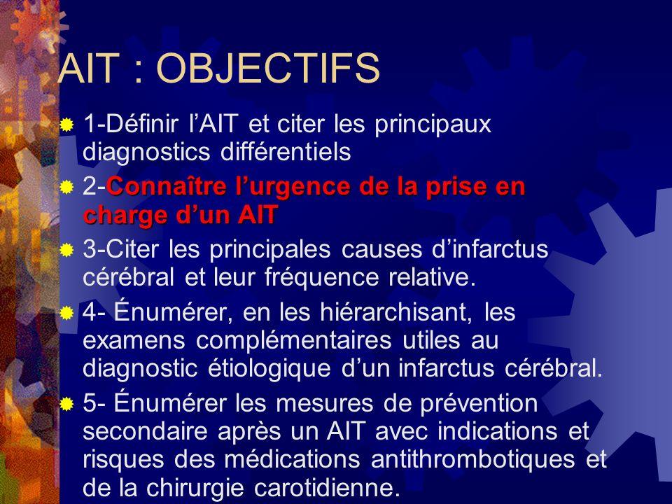 AIT : OBJECTIFS 1-Définir l'AIT et citer les principaux diagnostics différentiels. 2-Connaître l'urgence de la prise en charge d'un AIT.