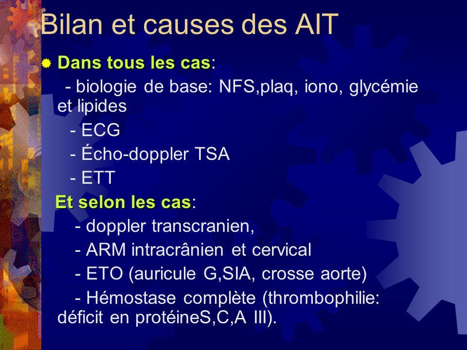 Bilan et causes des AIT Dans tous les cas: