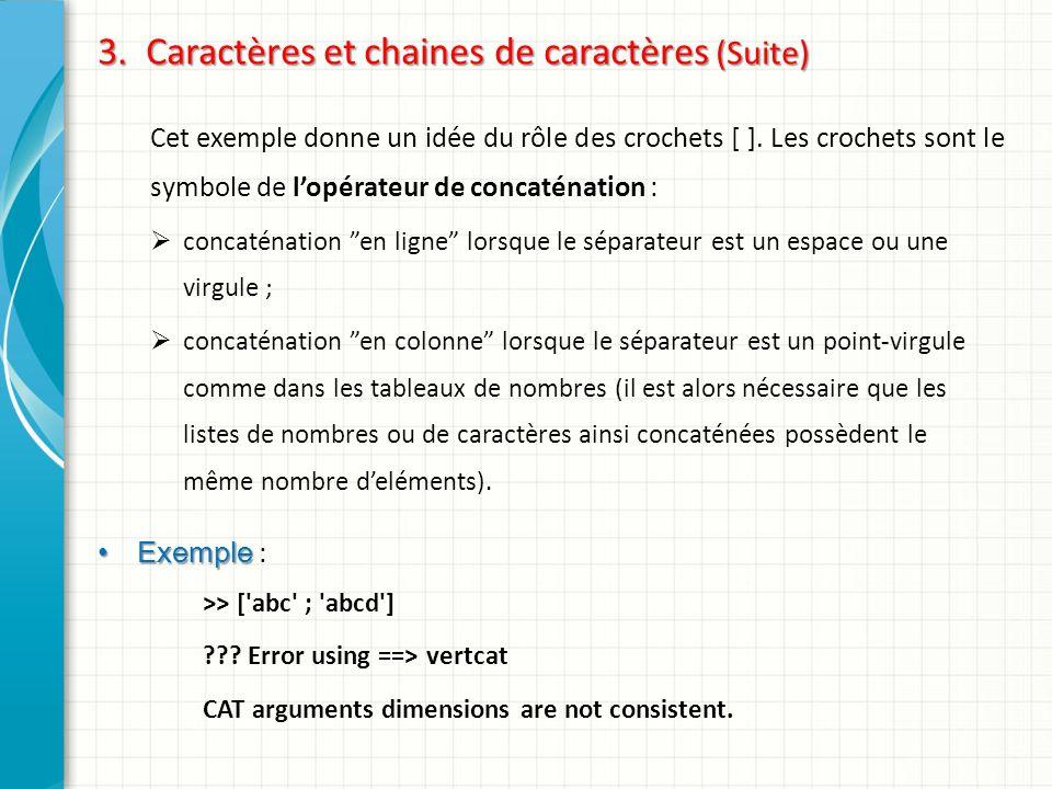 3. Caractères et chaines de caractères (Suite)