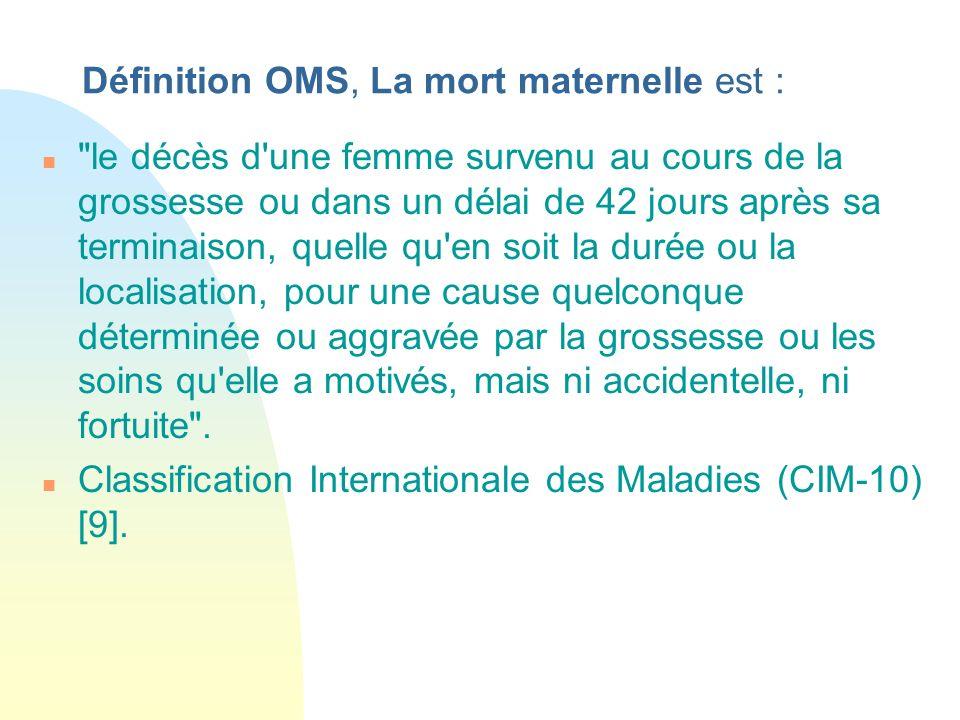 Définition OMS, La mort maternelle est :