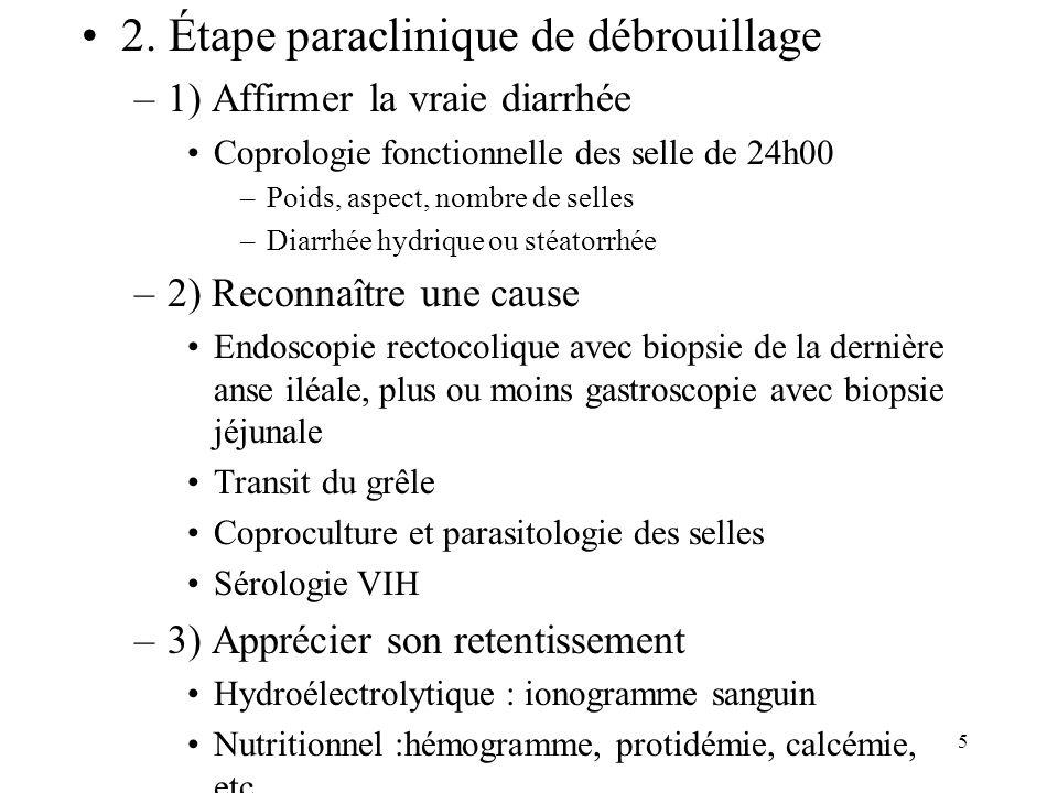 2. Étape paraclinique de débrouillage