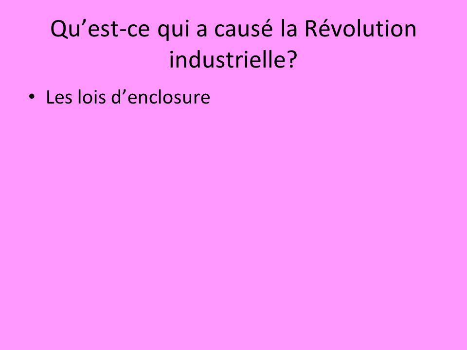 Qu'est-ce qui a causé la Révolution industrielle