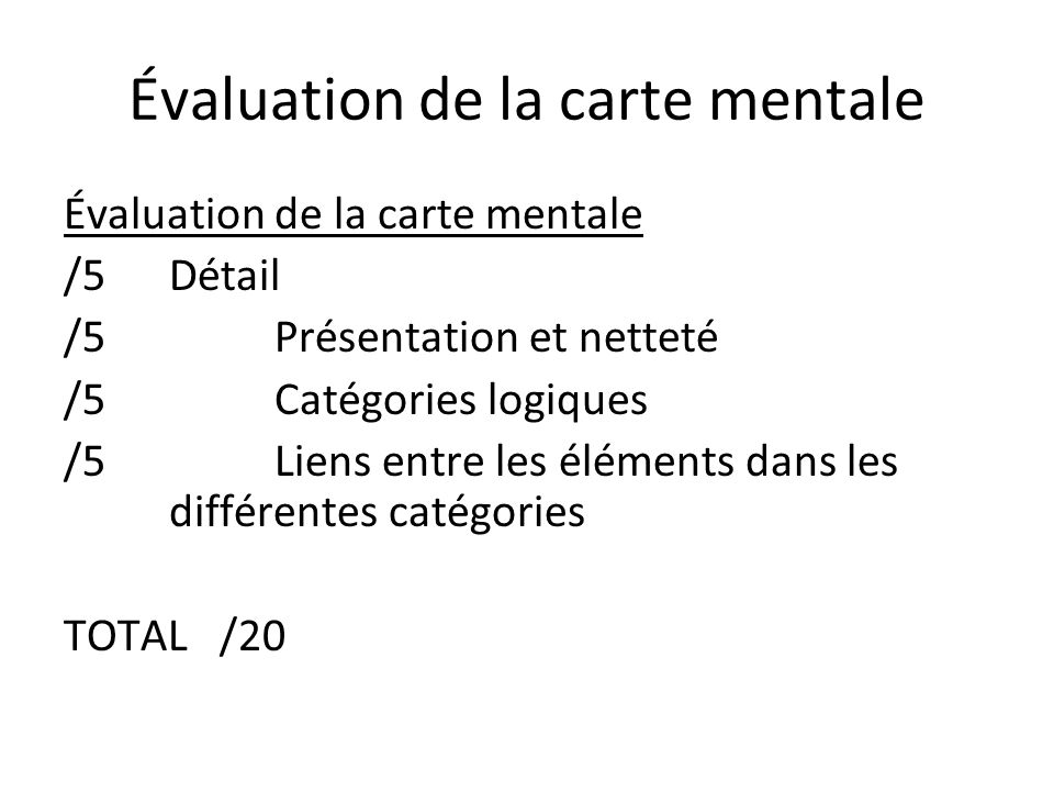 Évaluation de la carte mentale