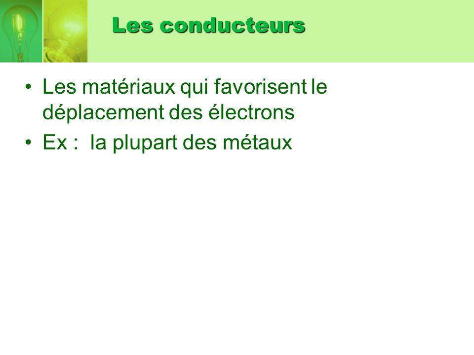 Les conducteurs Les matériaux qui favorisent le déplacement des électrons.