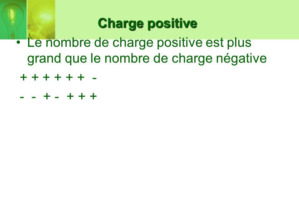 Charge positive Le nombre de charge positive est plus grand que le nombre de charge négative. + + + + + + -
