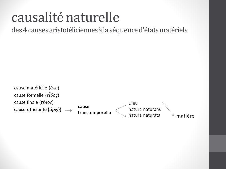 causalité naturelle des 4 causes aristotéliciennes à la séquence d'états matériels