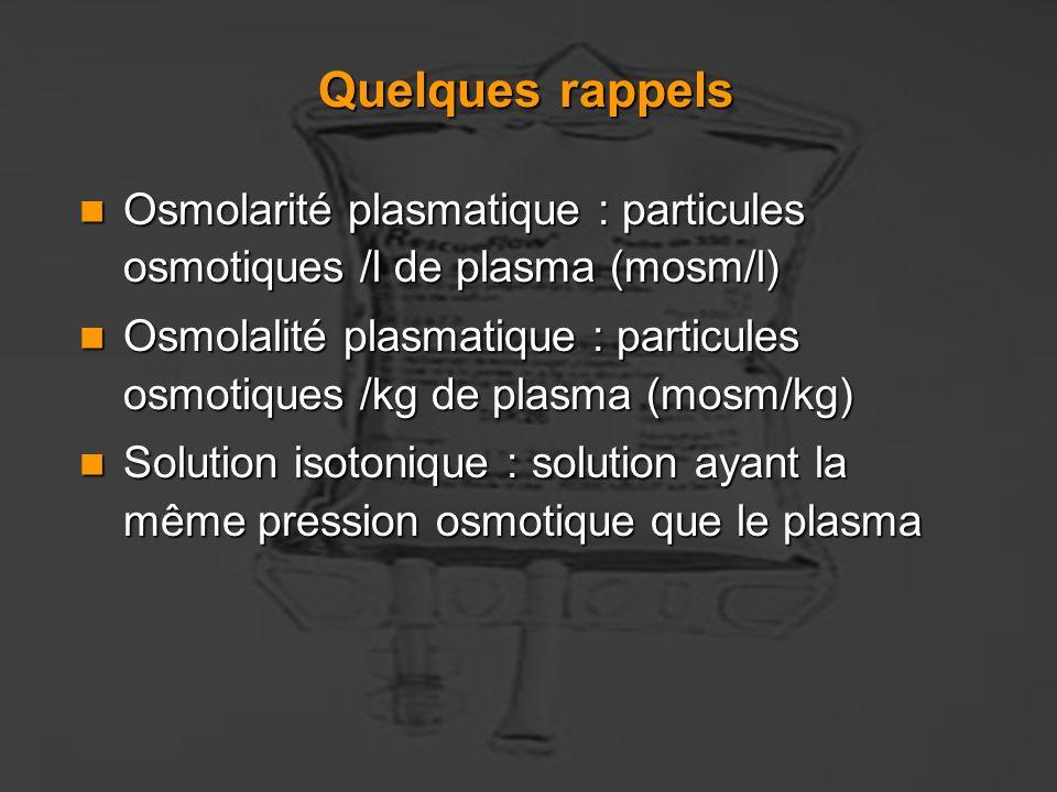 Quelques rappels Osmolarité plasmatique : particules osmotiques /l de plasma (mosm/l)