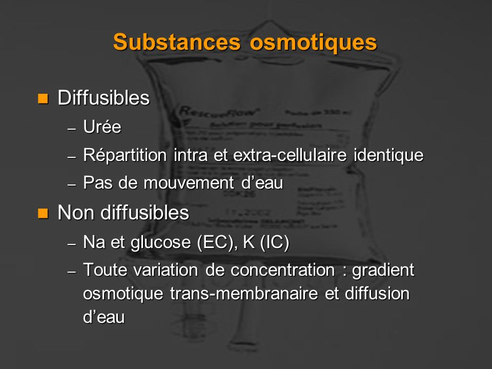Substances osmotiques