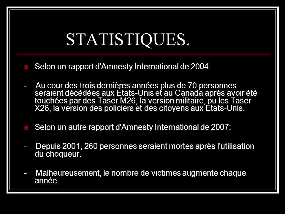 STATISTIQUES. Selon un rapport d Amnesty International de 2004: