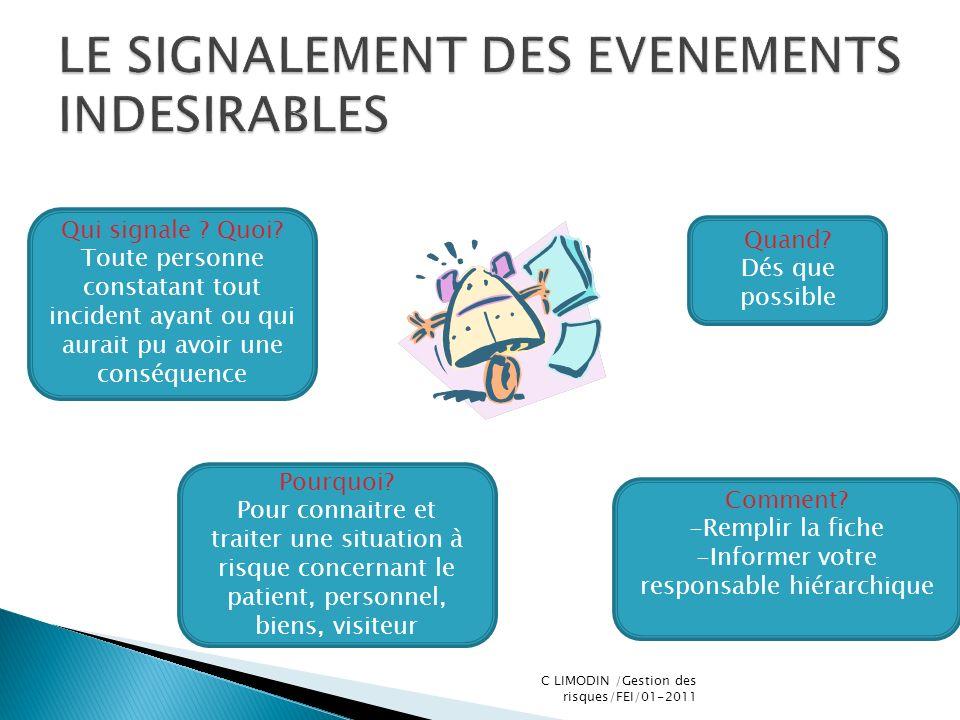 LE SIGNALEMENT DES EVENEMENTS INDESIRABLES