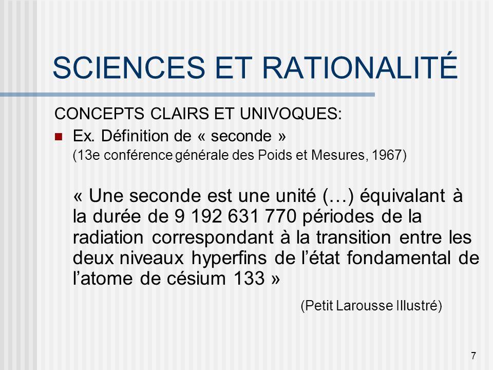 RATIONALITÉ EN SCIENCES