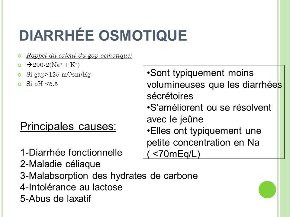 DIARRHÉE OSMOTIQUE Principales causes: